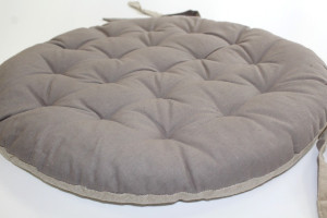 GALETTE DE CHAISE RONDE BIFACE UNIE TAUPE