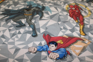 TISSU DESSIN ANIMÉ SUPERMAN BATMAN FLASH