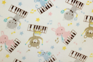 TISSU DOUDOU LAPINS CHATS PIANOS