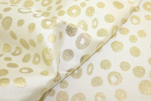 TISSU NOEL RONDS CERCLES OR / BLANC