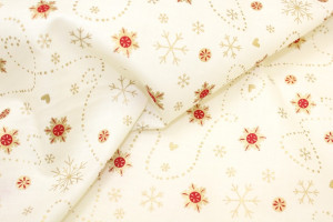 TISSU COTON NOEL FLOCONS OR ROUGE FOND BLANC