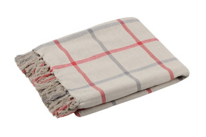 PLAID CARREAUX TARTAN FRANGES ROUGE 150 x 130 CM