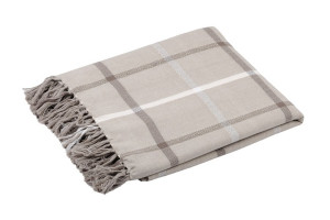 PLAID CARREAUX TARTAN FRANGES TAUPE 150 x 130 CM