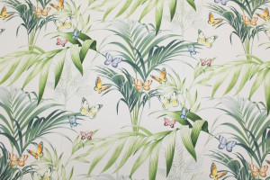 TISSU PAPILLONS FEUILLAGES