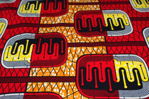 TISSU AFRICAIN WAX RECTANGLES BICOLORES ROUGE