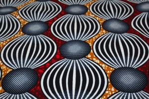 TISSU AFRICAIN WAX PETITES BOULES GRANDS CERCLES