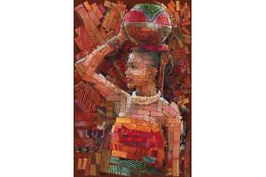 PANNEAU DÉCO AFRICAINE PORTEUSE D'EAU 134 x 200 CM