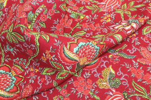 TISSU PROVENCAL COLLECTION VALDROME FLORAL ROUGE