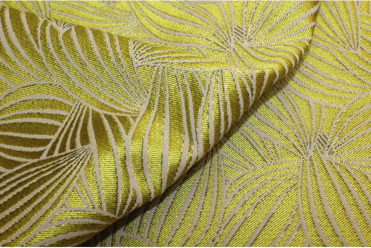 TISSU FEUILLES CACAO FICELLE FOND JAUNE