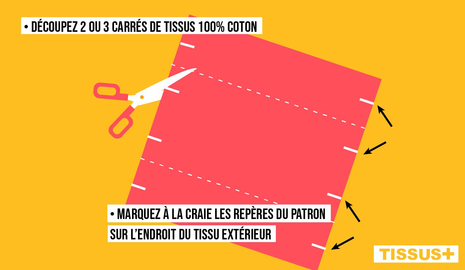 Découpez 2 ou 3 carrés de tissu puis marquez les repères à la craie
