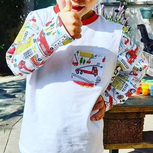 Les pompiers sont à l'honneur pour ce petit garçon avec cet adorable top manches longues 🚒😀 Magnifique avec sa petite poche sur le devant 😍  👏🏻 Bravo à @elle_aime_coudre 🎉